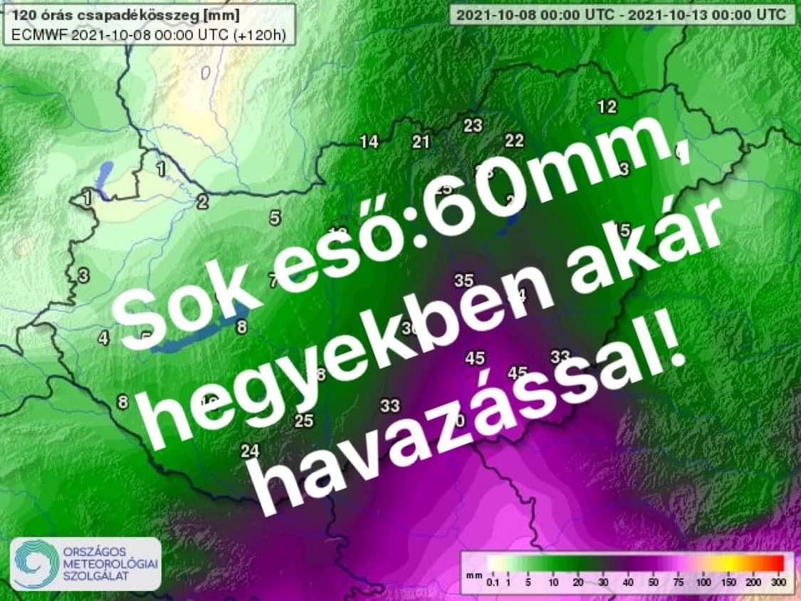 Vasárnap: Extrém mennyiségű eső érkezik, hegyekben havazás ! 6