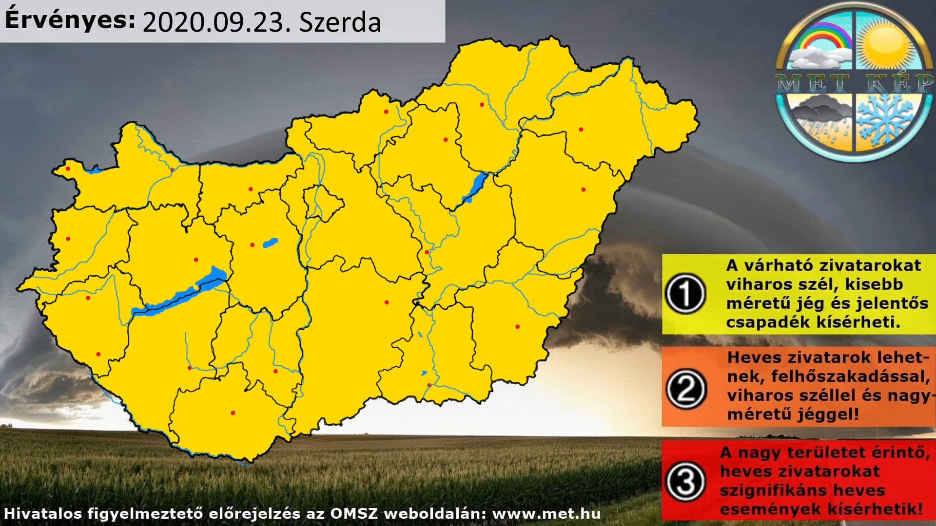 Figyelmeztető előrejelzés Magyarország területére, és Budapestre