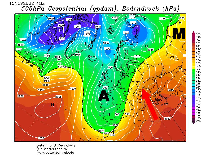 Nyugat-Európai ciklon előoldali áramlási rendszere