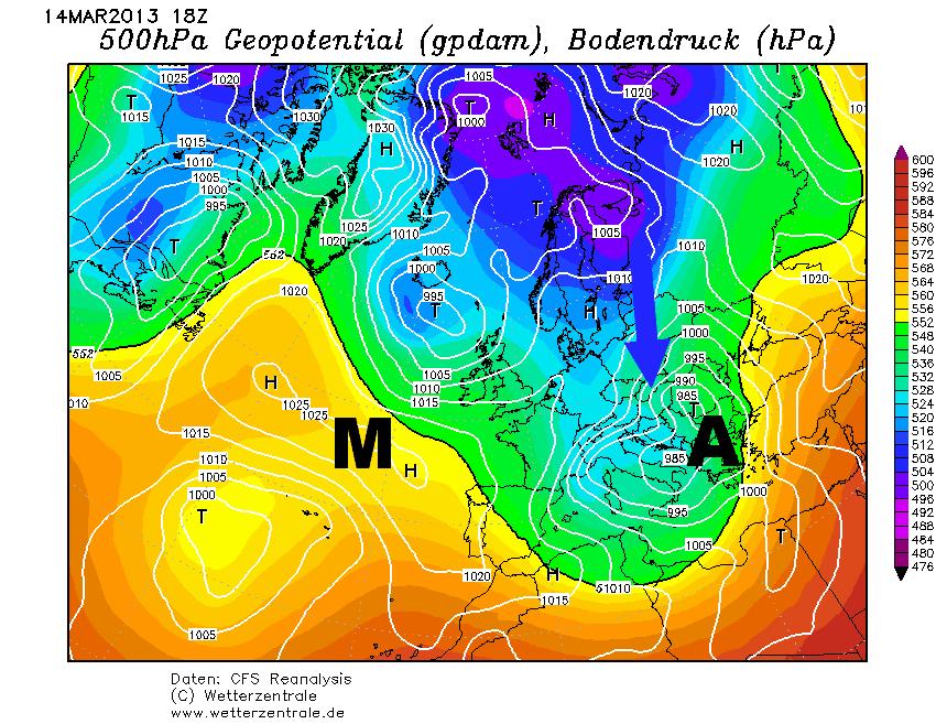 Mediterrán ciklon hátoldali áramlási rendszere