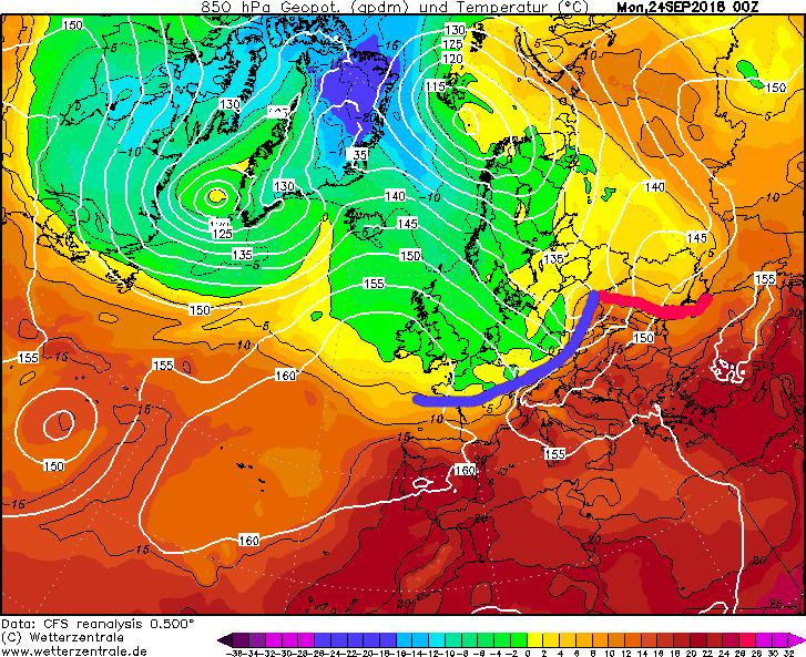 Magyarország egy észak-európai ciklonrendszer meleg szektorában