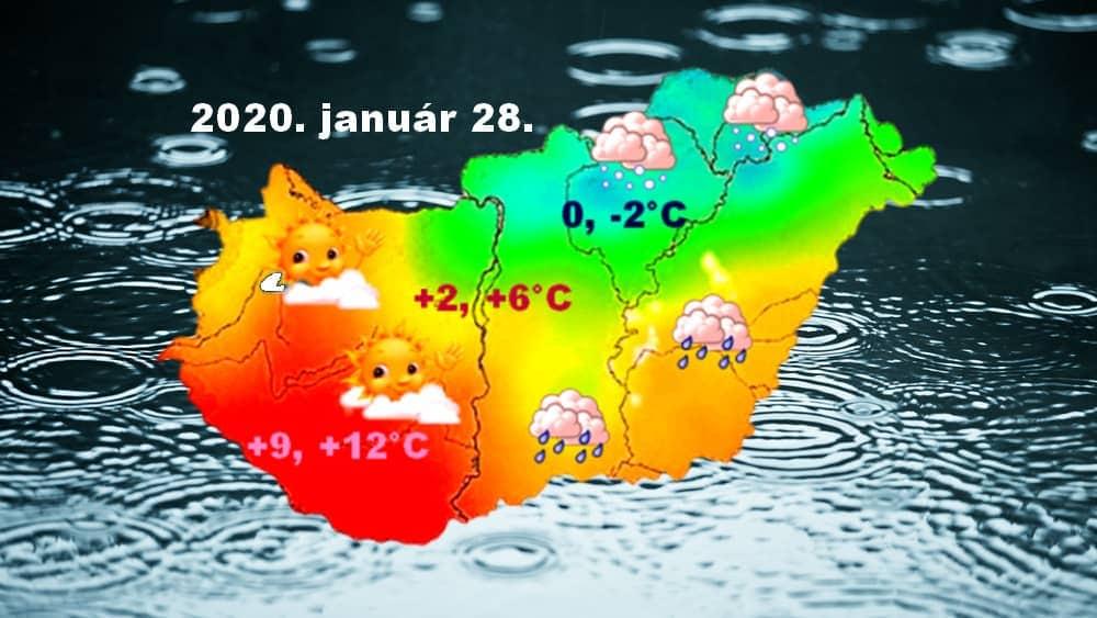 TAVASZ ÉS TÉL- délnyugaton már +12 fokot is mérnek, északkeleten fagy, havazik