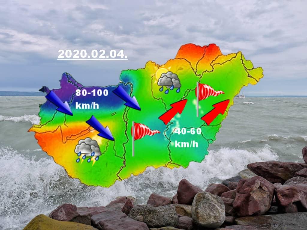 Már 90-100 km/h széllökések északnyugaton, zuhogó eső, helyenként jégeső, zivatar- ezt hozza a mai hidegfront! 8