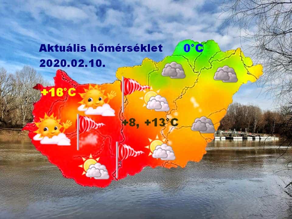 Ciara előoldalán: Sopron +18 fok, Aggtelek környéke 0 fok!