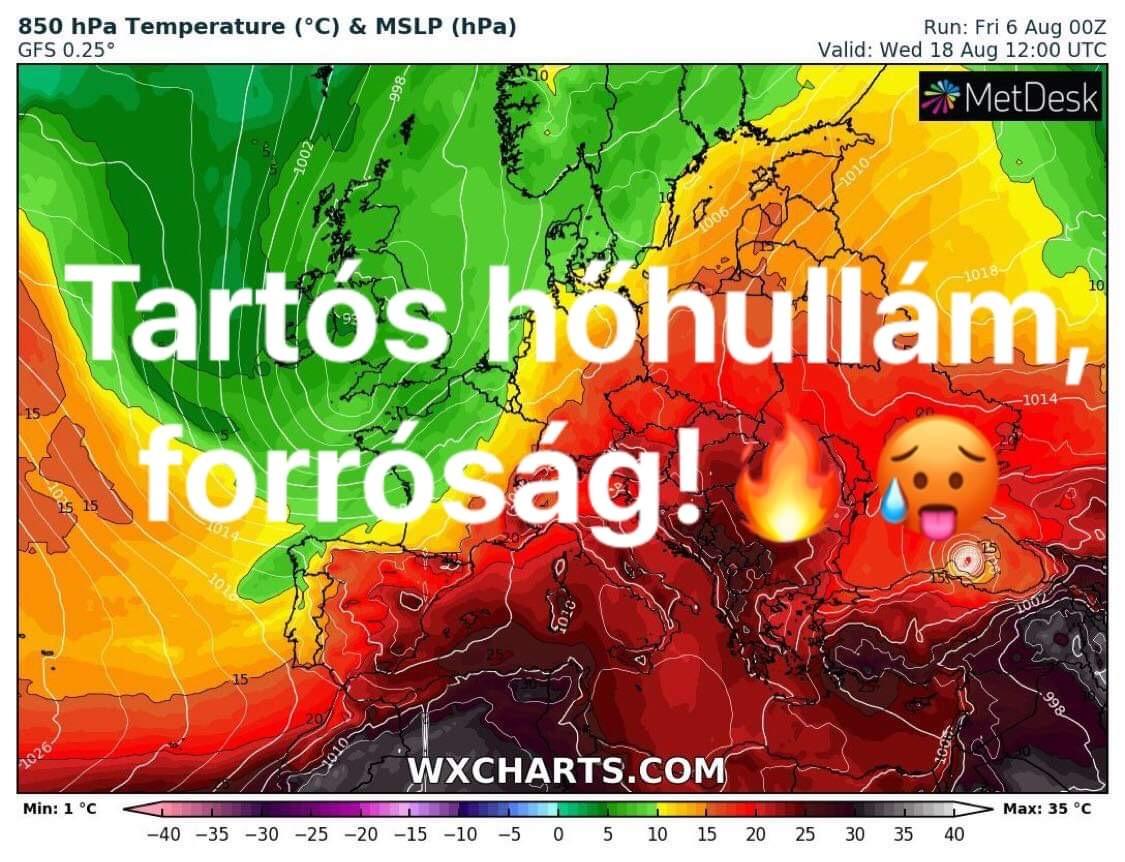 Hosszútávú előrejelzés-> újabb hőhullám, forróság! 9