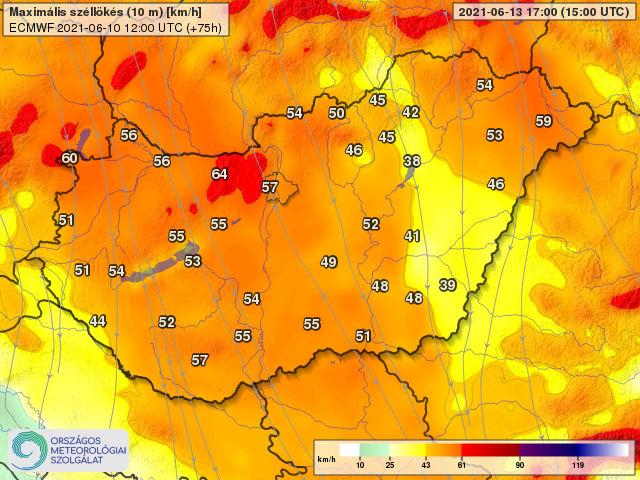 Vasárnap hidegfront: 60-90km/h-szél, lehűlés, zivatarok! 1
