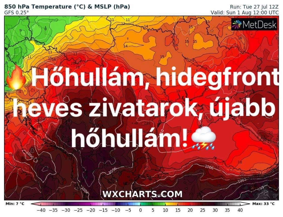 Hosszútávú előrejelzés: hőhullámok, hullámzó hidegfront: heves zivatarok! 2