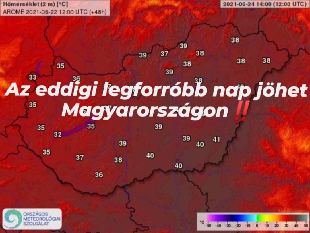 Történelmi meleg jöhet csütörtökön: megdőlhet a 41,9 fok! 10