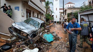 Pusztítás áradás Görögország flood greece