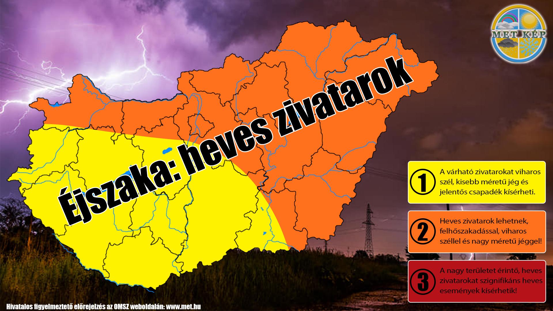 Figyelmeztető előrejelzés: éjszaka heves zivatarok, felhőszakadás! 8