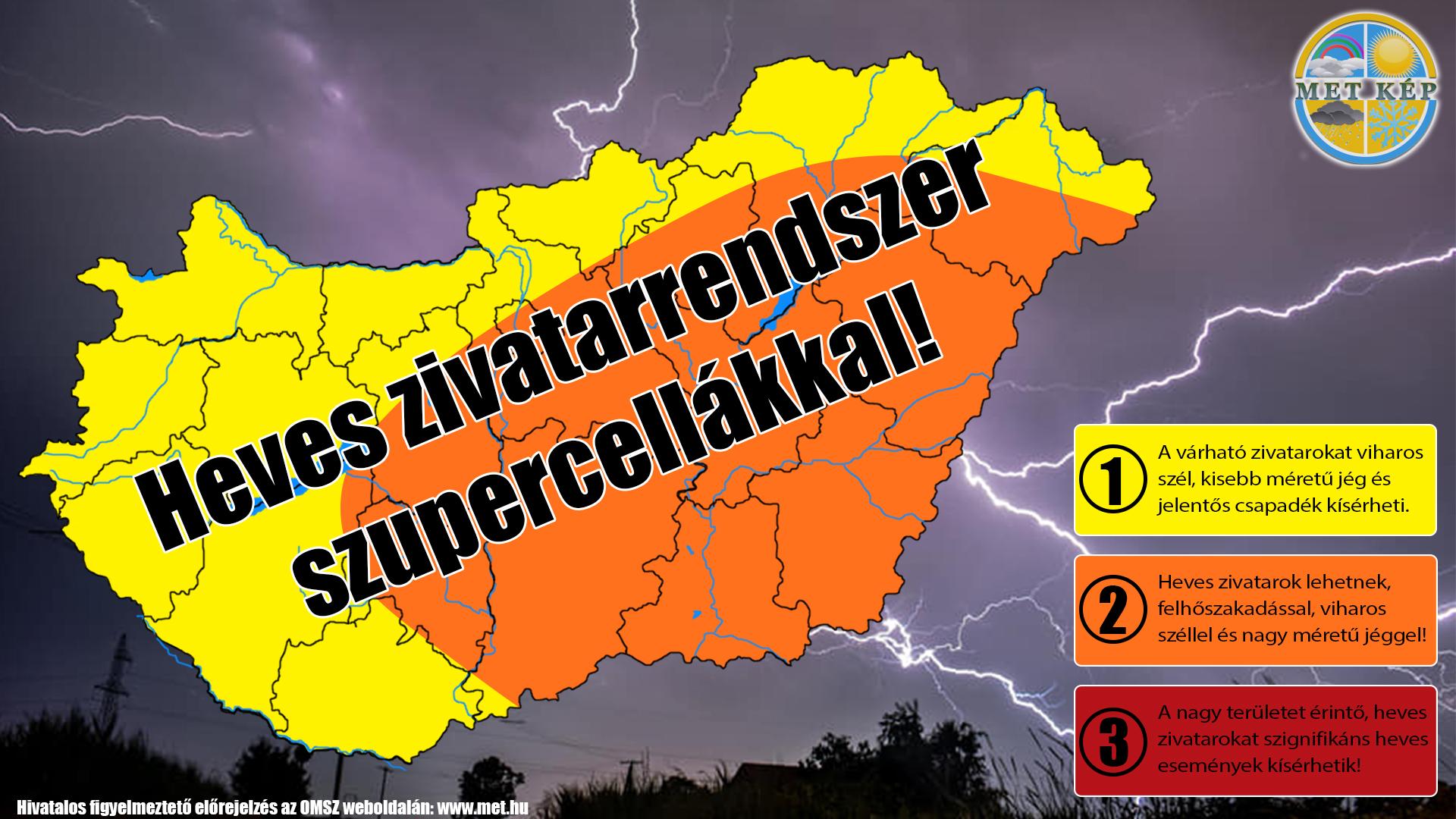 Figyelmeztetés: zivatarrendszer szupercellákkal, akár 60-70mm eső! 5