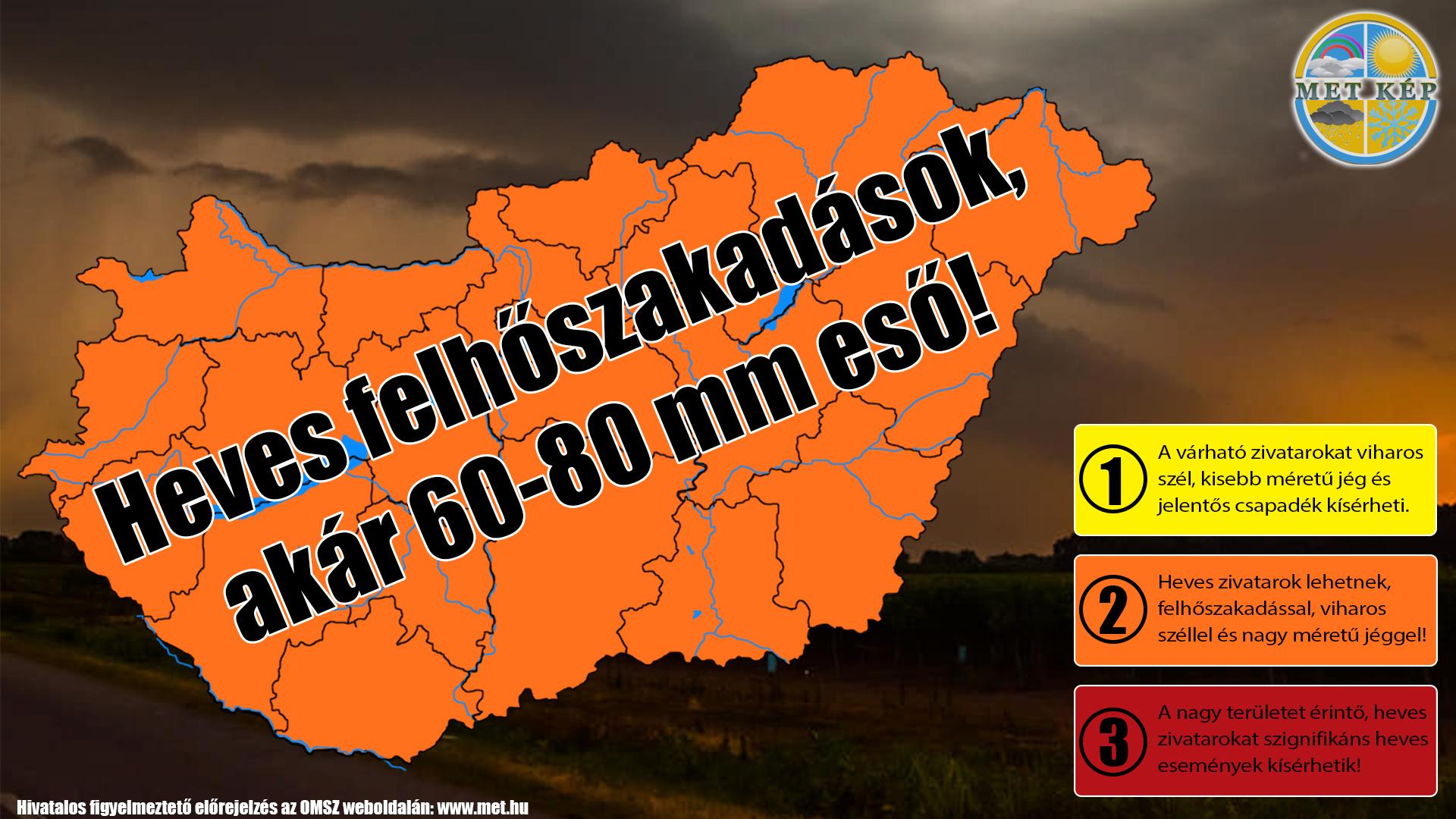 Figyelmeztető előrejelzés: heves felhőszakadások, akár 60-80mm csapadék! 2
