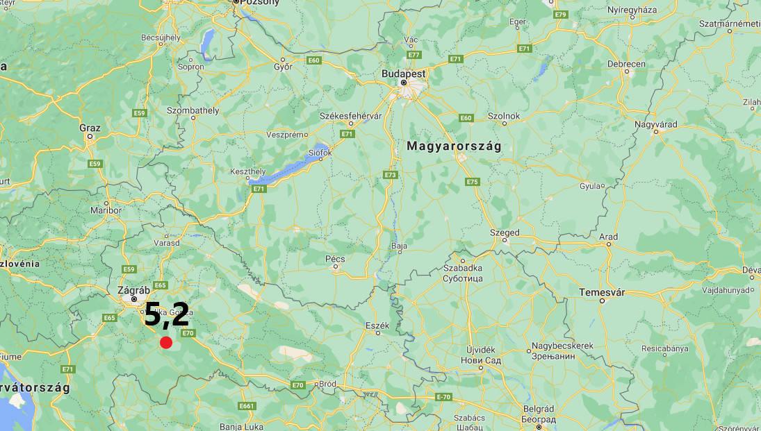 5,2-es magnitúdójú rengés volt a horvátországi petrinyán