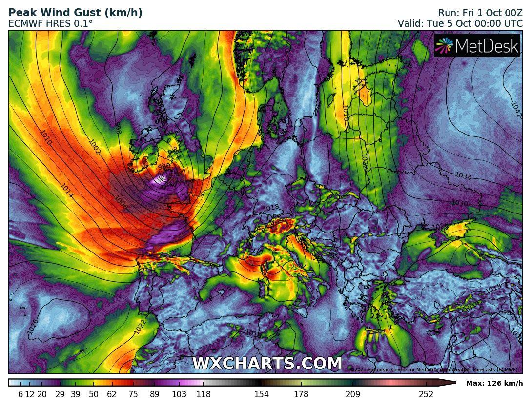 120-130km/h-s orkánnal viharciklonok csapnak le Európára! 6