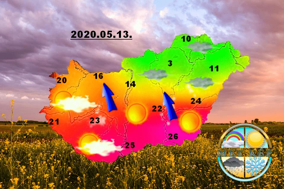 Ég és föld- Kékes +3, Pitvaros +26 fok-> Hullámzó frontrendszer 5