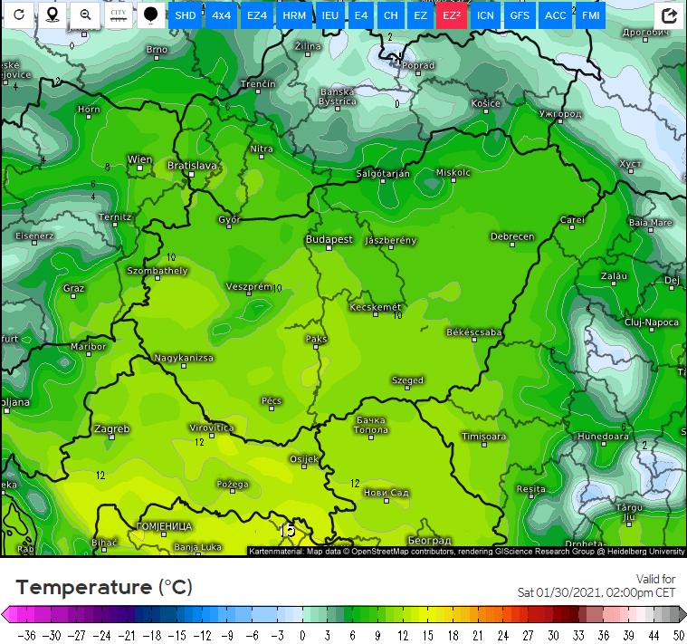Szombaton érezhetjük legerősebben a melegfront hatását.