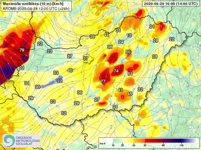 Orkán erejű szél kísérheti a frontvonalat holnap: 100-130km/h-s lökés is lehet! 2