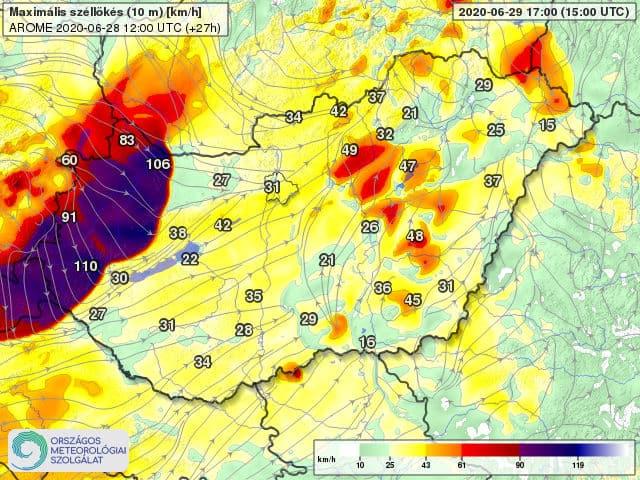 Orkán erejű szél kísérheti a frontvonalat holnap: 100-130km/h-s lökés is lehet! 3