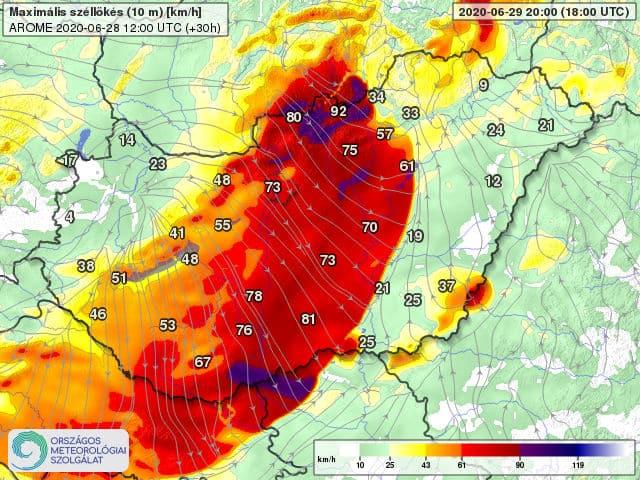 Orkán erejű szél kísérheti a frontvonalat holnap: 100-130km/h-s lökés is lehet! 6