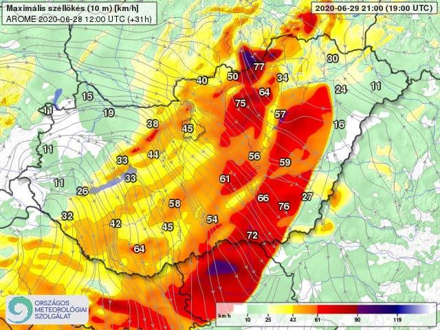 Orkán erejű szél kísérheti a frontvonalat holnap: 100-130km/h-s lökés is lehet! 7