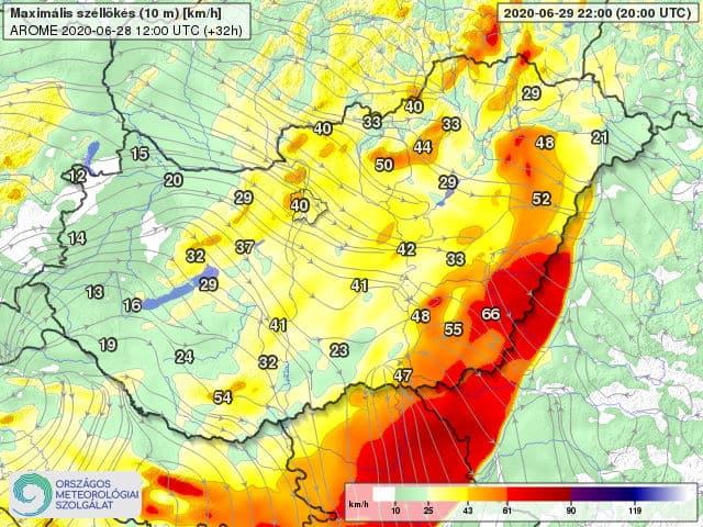 Orkán erejű szél kísérheti a frontvonalat holnap: 100-130km/h-s lökés is lehet! 8