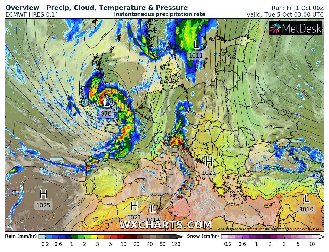 120-130km/h-s orkánnal viharciklonok csapnak le Európára! 5