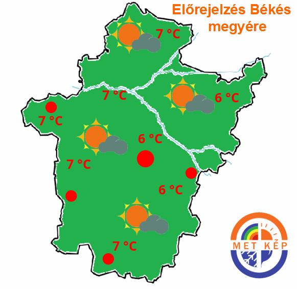 Kistérségi időjárás előrejelzés Békés megyére. Békéscsaba, Gyula, Orosháza, Szarvas holnapra.
