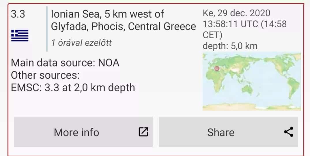 3.3-as földrengés volt a görög Ion-tenger alatt! 4