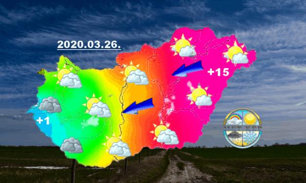 Kelet felől már jön a melegedés, a hétvégén 20 fok körül tetőzik!