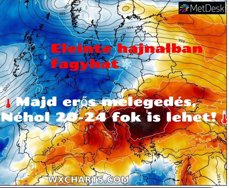 Hosszútávú kilátások: eleinte hideg, többfelé fagyos reggelek, majd erős melegedés, 20-24 fokkal! (Animációs időjárás előrejelzés) 1