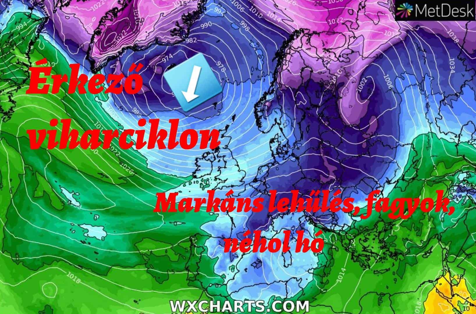 Hosszútávú előrejelzés: markáns lehűlés, néhol hó, majd viharciklon hozhat enyhülést átmenetileg! 5