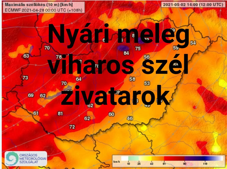 Vasárnap: viharos, akár 80-100km/h-s szél, zivatarok, nyári meleg! 4