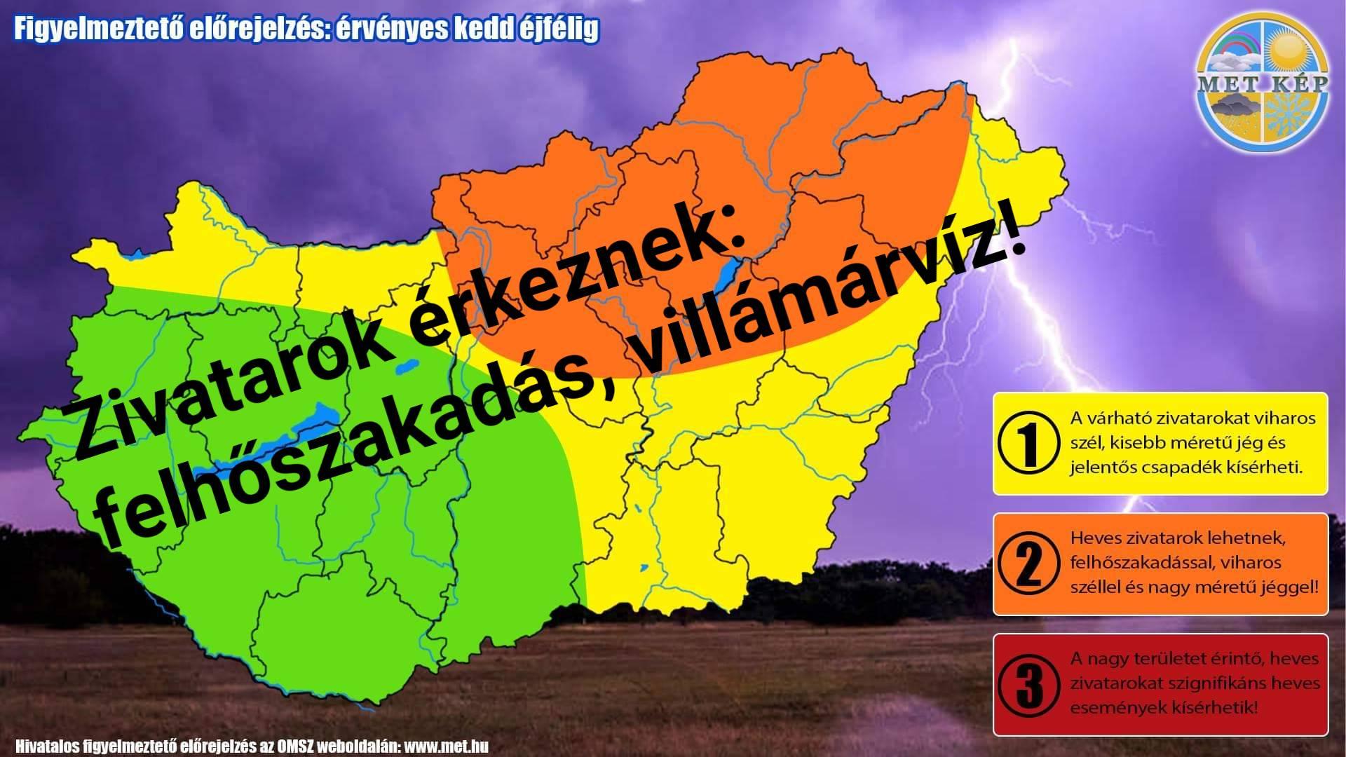 Órákon belül zivatarok: felhőszakadás, villámárvíz veszély! 2