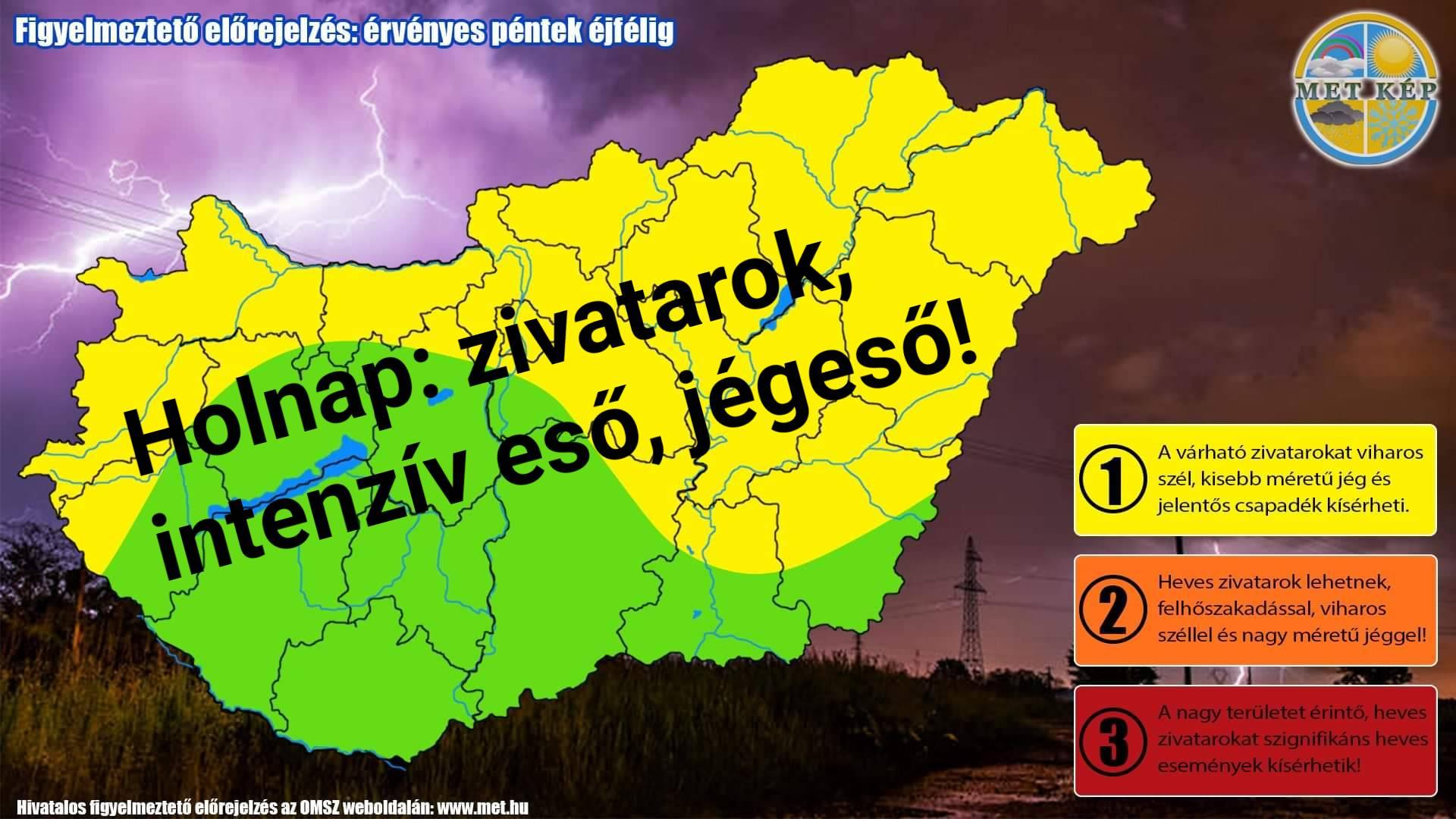 Figyelmeztetés: zivatarok, felhőszakadásszerű eső, jégeső! 10