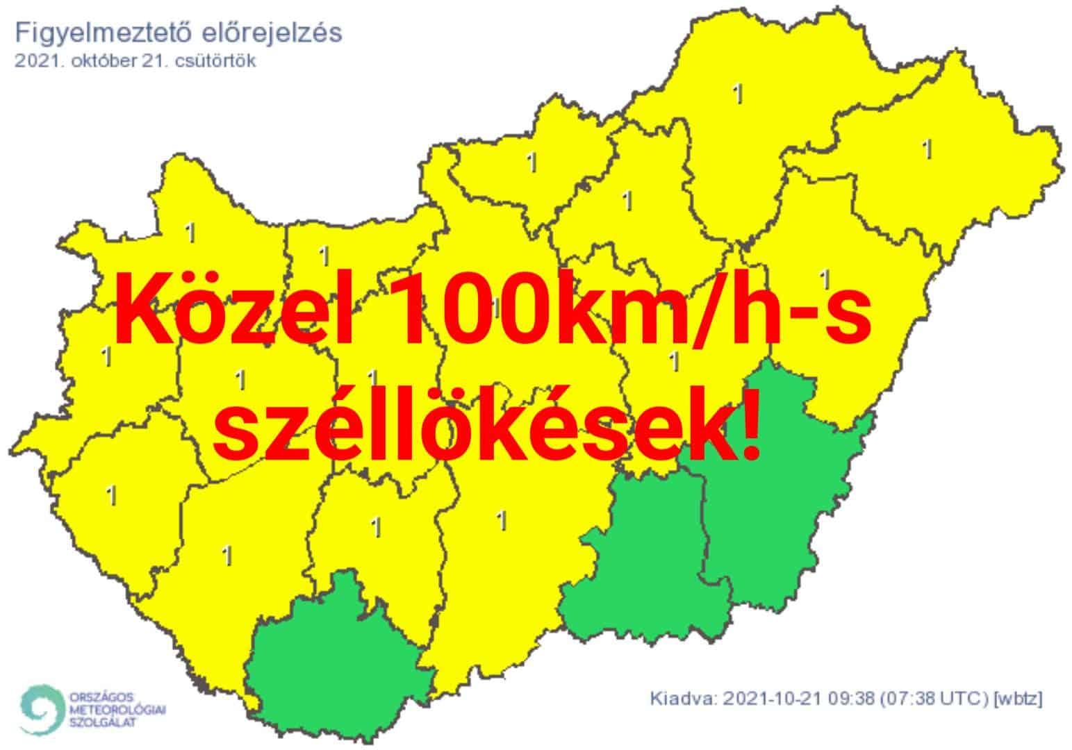 Riasztás szélviharra: közel 100km/h-s lökések! 1