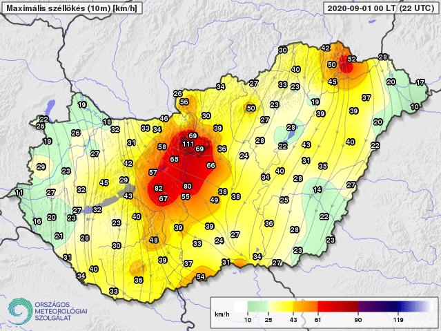 Szinte orkán rejű széllökést mértek Budapesten, amikor elérte a várost a zivatarok második hulláma.