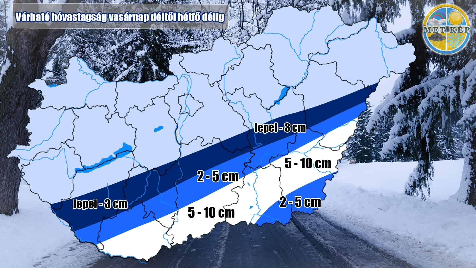 Érkezik a vegyes csapadék: néhol 5-10cm hó hullhat hétfő délig! 3