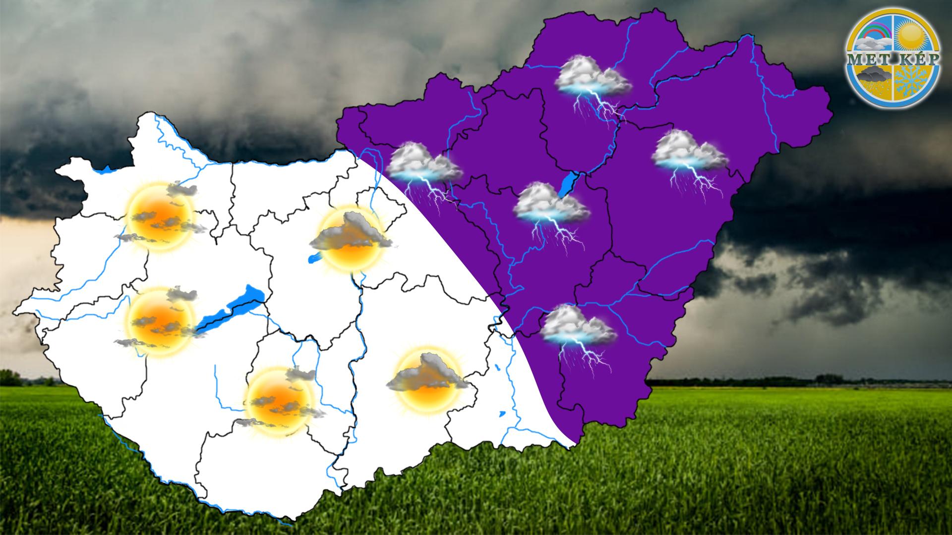 Ma: keleten elszórt zápor, zivatar, felhőszakadás! 2