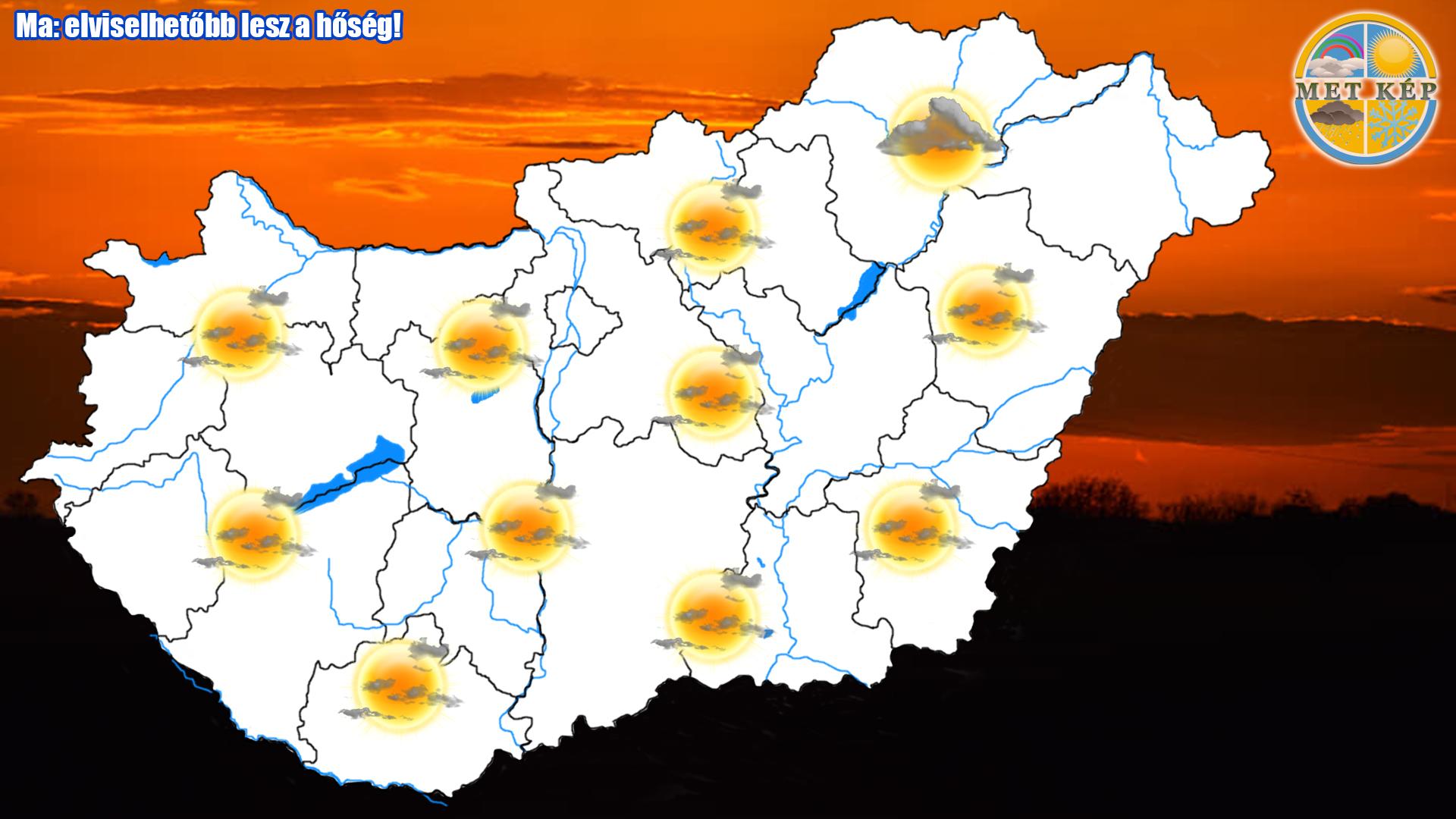 Ma: elviselhetőbb lesz a hőség! 2