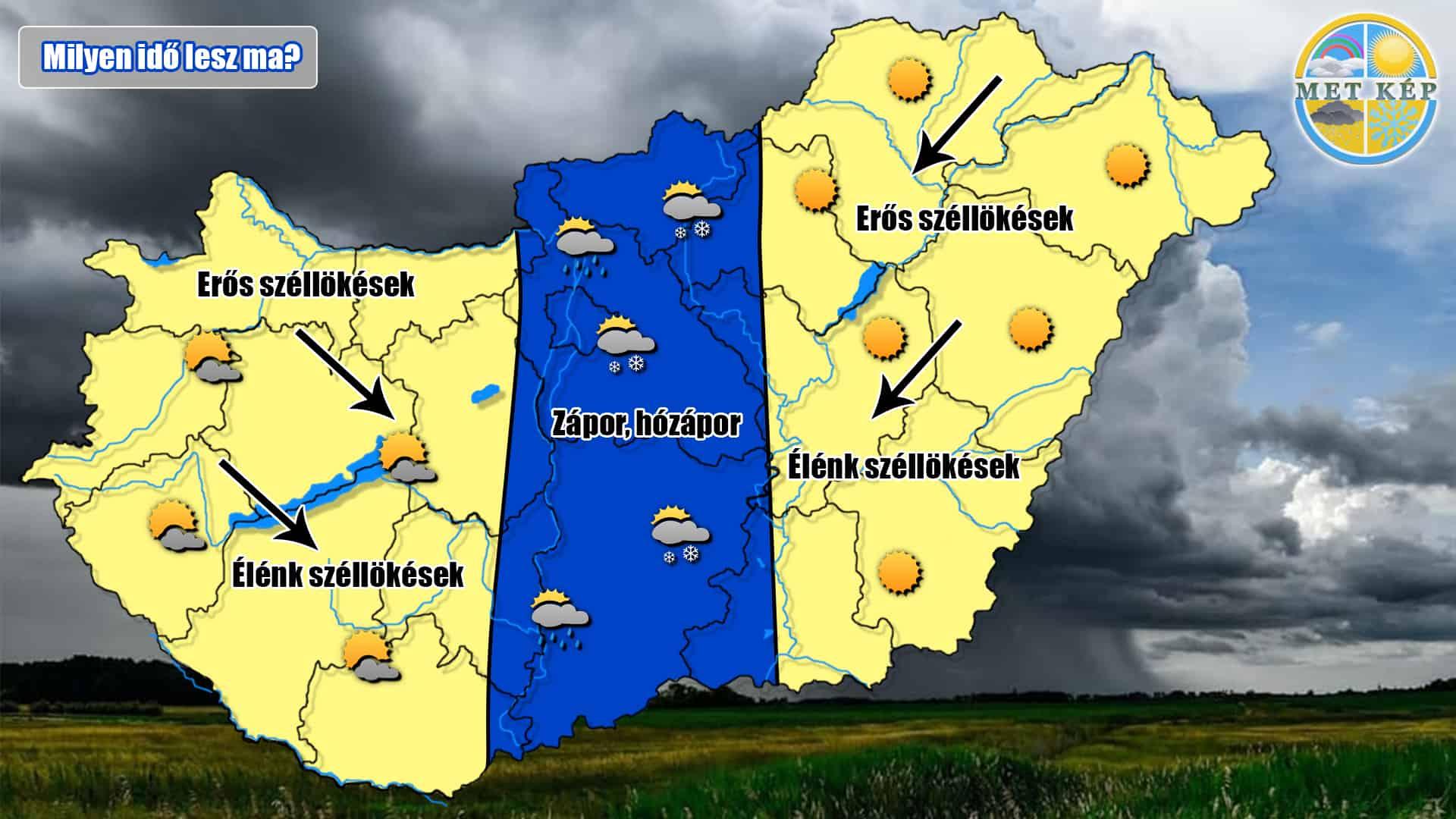 Milyen idő lesz ma? Esős, záporos, havas, vagy napos, netán szeles? Ezek mind!