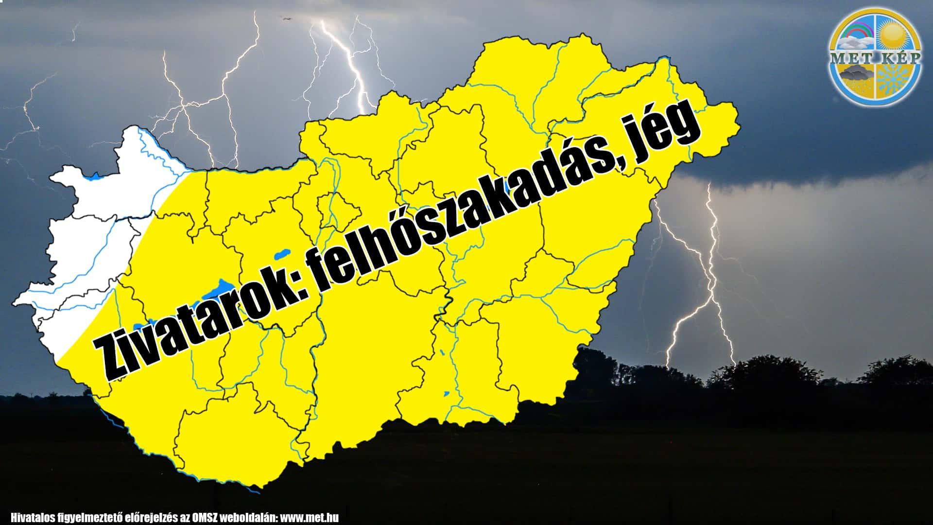 Figyelmeztetés: zivatarok felhőszakadással, 20-30mm esővel, jégesővel! 10