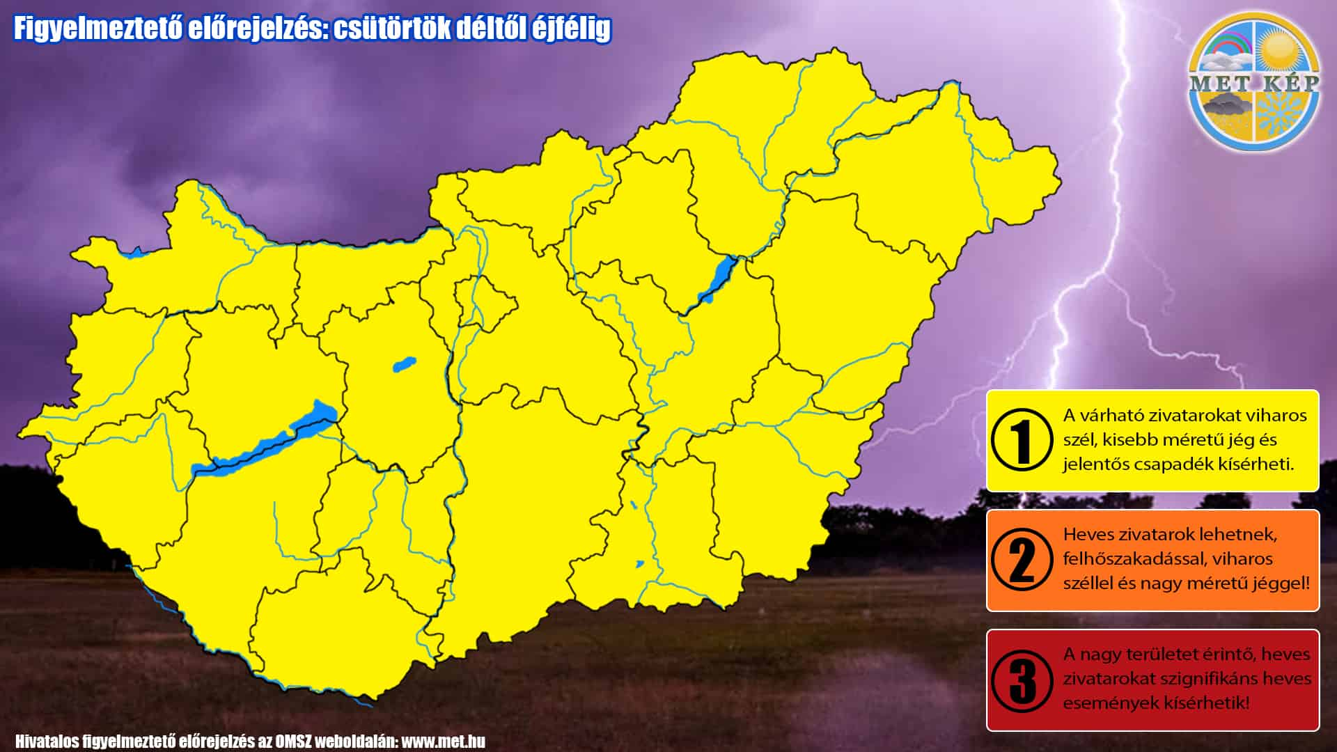 Figyelmeztetés zivatarrendszer felhőszakadás