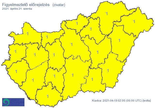 Figyelmeztetés zivatarokra: kiadós csapadék (20-30mm), jégeső, szél! 4