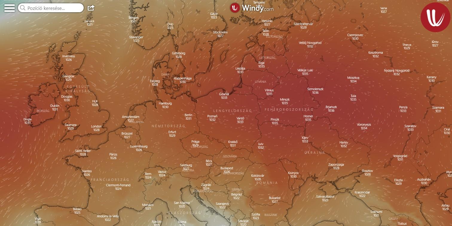 Nyomástérképen az anticiklon. A piros szín a magas légnyomást jelöli.